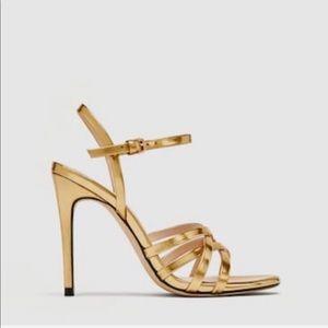 Zara gold metallic strappy sandal high heel size 8